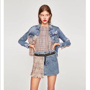 Denim and tweed mini skirt
